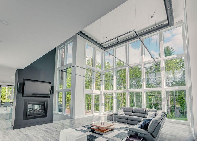 Fenêtre plein mur contemporain luxe Vaillancourt Magog Quebec Visiondici-2019